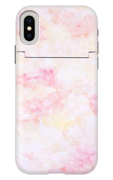 iPhoneXSのミラー付きケース、ふんわりピンクマーブル【スマホケース】