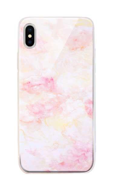 iPhoneXS Maxのケース、ふんわりピンクマーブル【スマホケース】