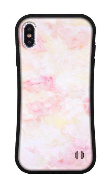 iPhoneXS Maxのグリップケース、ふんわりピンクマーブル【スマホケース】