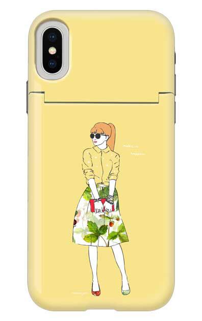 iPhoneXSのミラー付きケース、モードガール「Make it happen」【スマホケース】