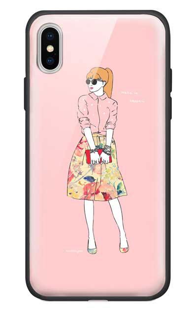 iPhoneXSのガラスケース、モードガール「Make it happen」【スマホケース】