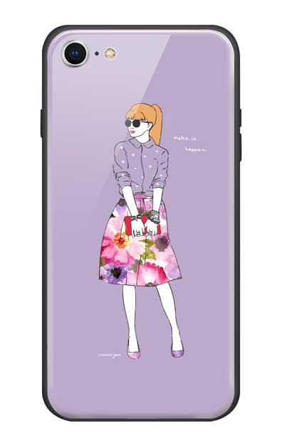 iPhone7のガラスケース、モードガール「Make it happen」【スマホケース】