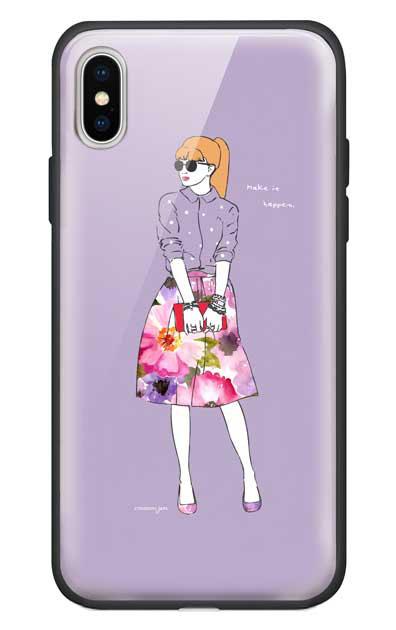 iPhoneXのガラスケース、モードガール「Make it happen」【スマホケース】