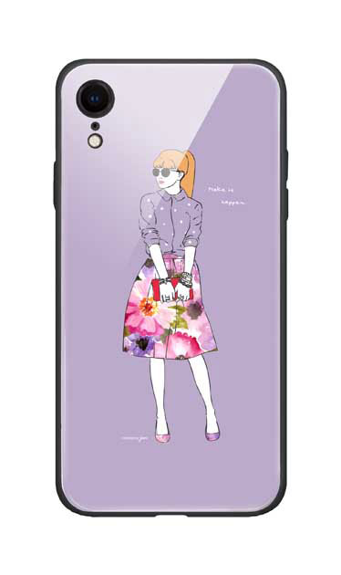 iPhoneXRのガラスケース、モードガール「Make it happen」【スマホケース】