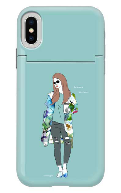 iPhoneXのミラー付きケース、モードガール「Do what you love」【スマホケース】