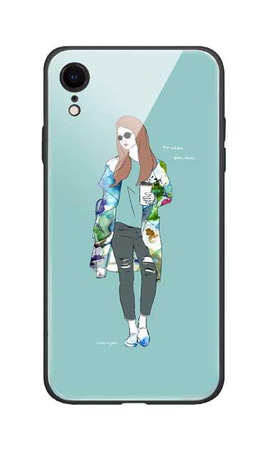 iPhoneXRのガラスケース、モードガール「Do what you love」【スマホケース】