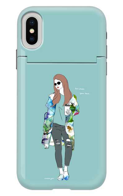 iPhoneXSのミラー付きケース、モードガール「Do what you love」【スマホケース】