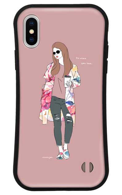 iPhoneXSのグリップケース、モードガール「Do what you love」【スマホケース】