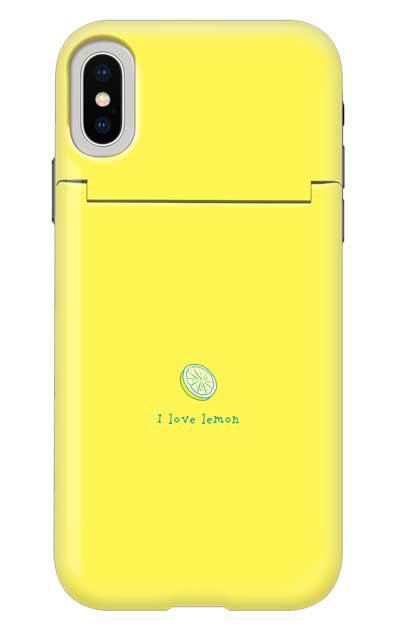 iPhoneXのミラー付きケース、I love lemon【スマホケース】