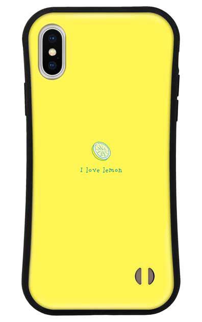 iPhoneXSのグリップケース、I love lemon【スマホケース】