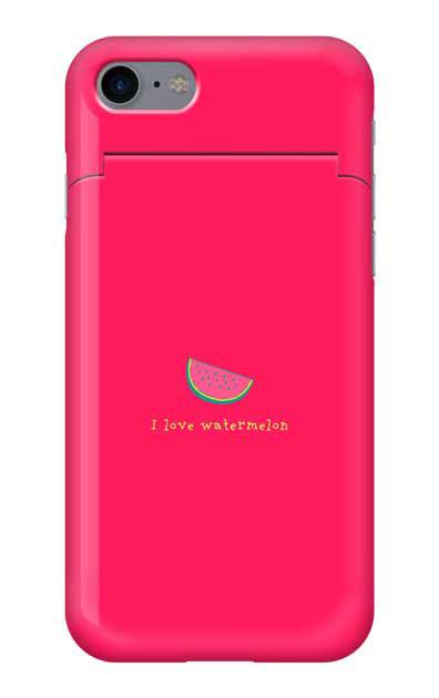 iPhone7のミラー付きケース、I love watermelon【スマホケース】