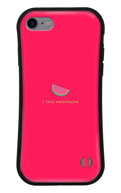 iPhone7のグリップケース、I love watermelon【スマホケース】