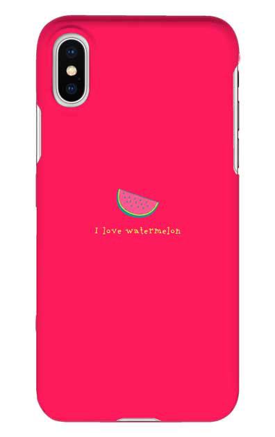 iPhoneXSのハードケース、I love watermelon【スマホケース】