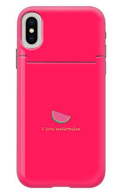 iPhoneXSのミラー付きケース、I love watermelon【スマホケース】