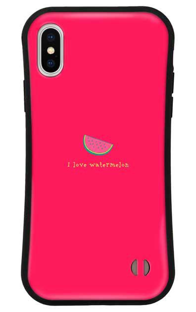 iPhoneXSのグリップケース、I love watermelon【スマホケース】