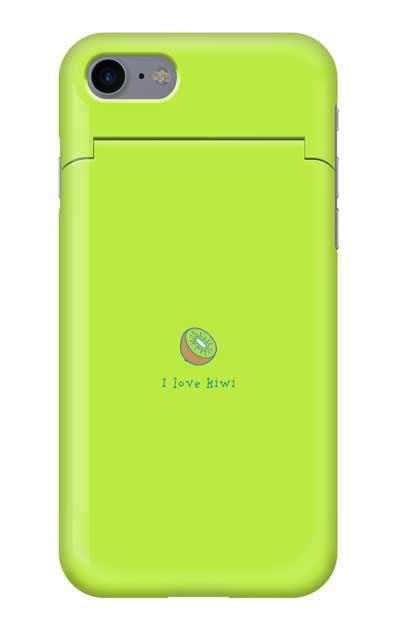 iPhone7のミラー付きケース、I love kiwi【スマホケース】