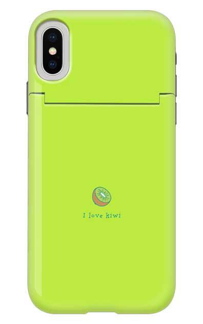 iPhoneXのミラー付きケース、I love kiwi【スマホケース】