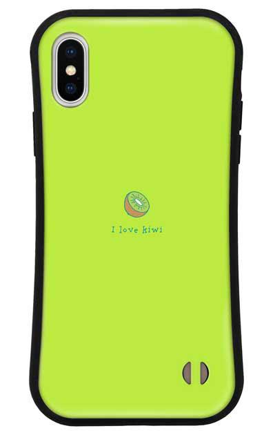 iPhoneXSのグリップケース、I love kiwi【スマホケース】