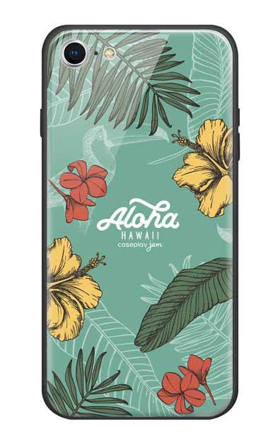 iPhone8のガラスケース、Aloha*ハワイアンプラント【スマホケース】