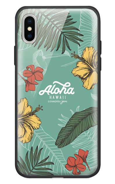 iPhoneXのガラスケース、Aloha*ハワイアンプラント【スマホケース】