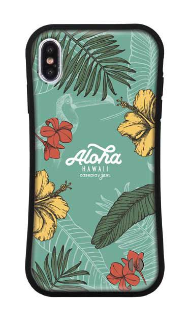 iPhoneXS Maxのグリップケース、Aloha*ハワイアンプラント【スマホケース】