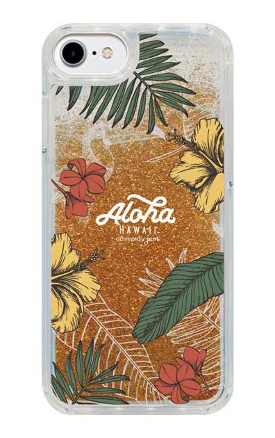 iPhone8のグリッターケース、Aloha*ハワイアンプラント【スマホケース】