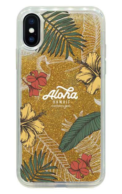 iPhoneXのグリッターケース、Aloha*ハワイアンプラント【スマホケース】