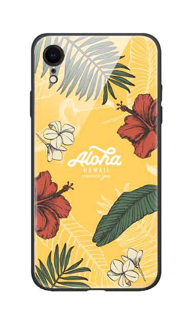 iPhoneXRのガラスケース、Aloha*ハワイアンプラント【スマホケース】