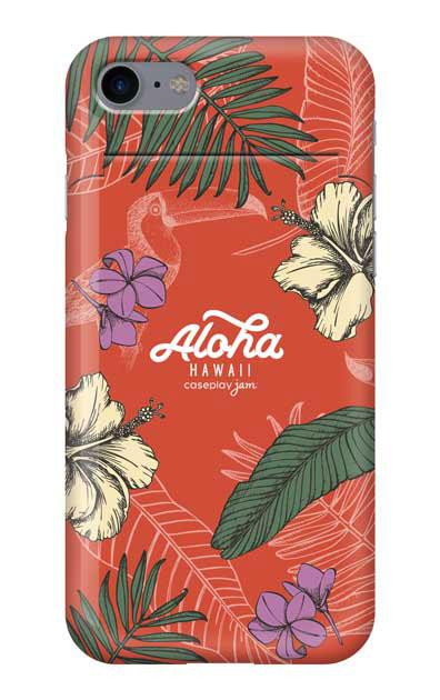 iPhone7のミラー付きケース、Aloha*ハワイアンプラント【スマホケース】