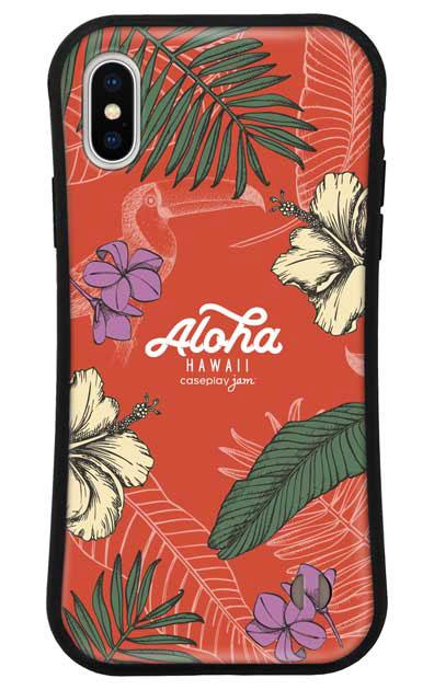 iPhoneXのグリップケース、Aloha*ハワイアンプラント【スマホケース】