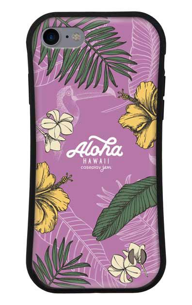 iPhone8のグリップケース、Aloha*ハワイアンプラント【スマホケース】