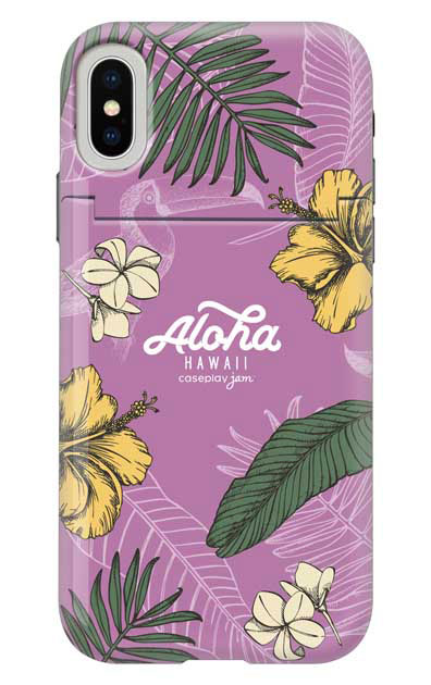 iPhoneXSのミラー付きケース、Aloha*ハワイアンプラント【スマホケース】