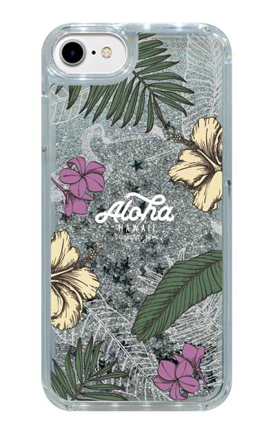 iPhone7のグリッターケース、Aloha*ハワイアンプラント【スマホケース】