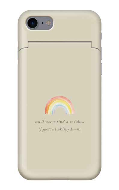 iPhone7のミラー付きケース、パステルレインボー【スマホケース】