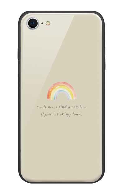 iPhone8のガラスケース、パステルレインボー【スマホケース】