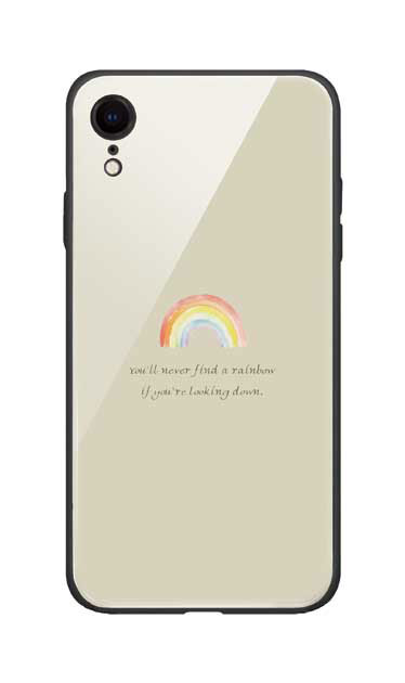 iPhoneXRのガラスケース、パステルレインボー【スマホケース】
