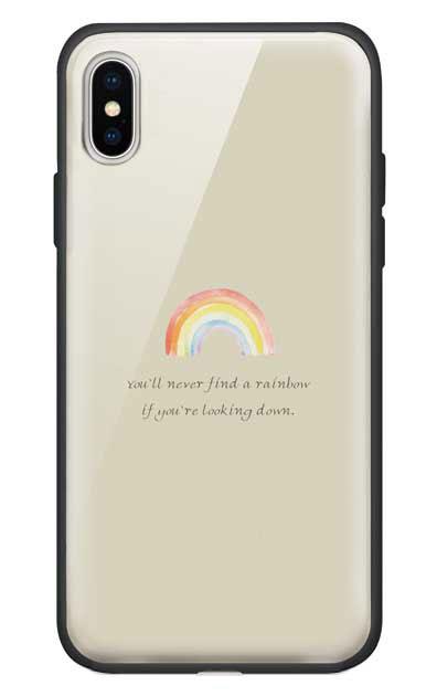 iPhoneXSのガラスケース、パステルレインボー【スマホケース】