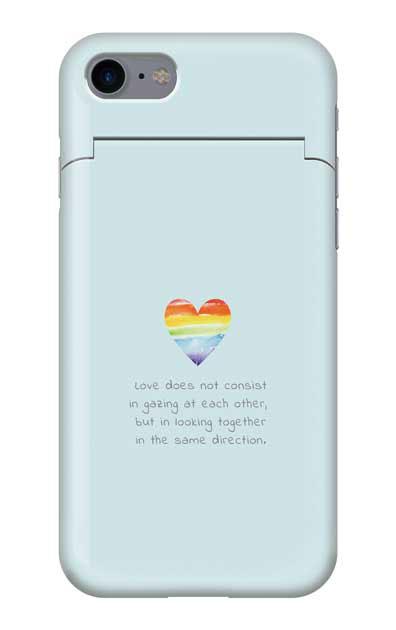 iPhone7のミラー付きケース、パステルレインボーハート【スマホケース】