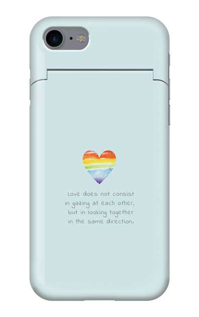 iPhone8のミラー付きケース、パステルレインボーハート【スマホケース】