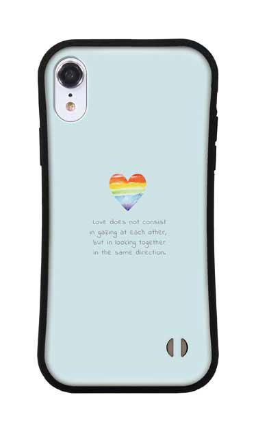 iPhoneXRのグリップケース、パステルレインボーハート【スマホケース】