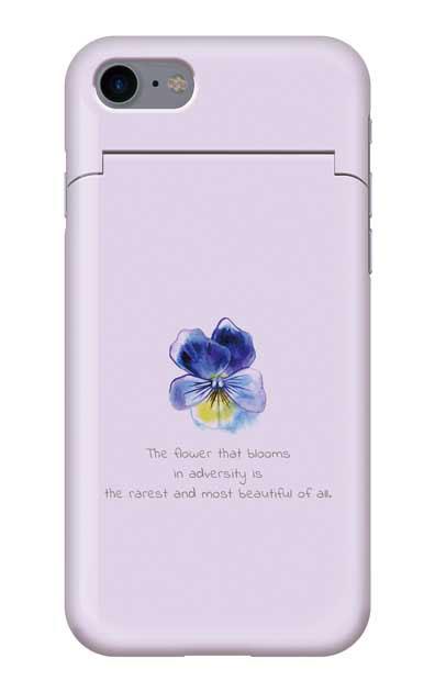 iPhone7のミラー付きケース、パステルパンジー【スマホケース】
