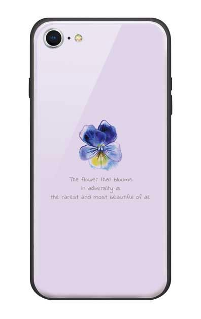 iPhone7のガラスケース、パステルパンジー【スマホケース】