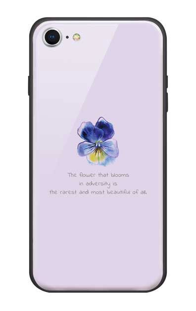 iPhone8のガラスケース、パステルパンジー【スマホケース】
