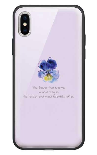 iPhoneXのガラスケース、パステルパンジー【スマホケース】