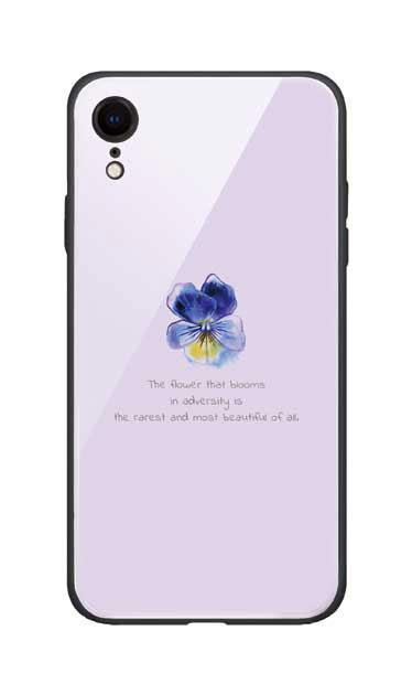 iPhoneXRのガラスケース、パステルパンジー【スマホケース】