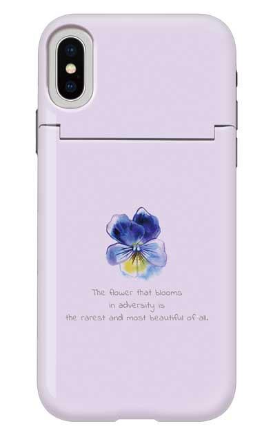 iPhoneXSのミラー付きケース、パステルパンジー【スマホケース】