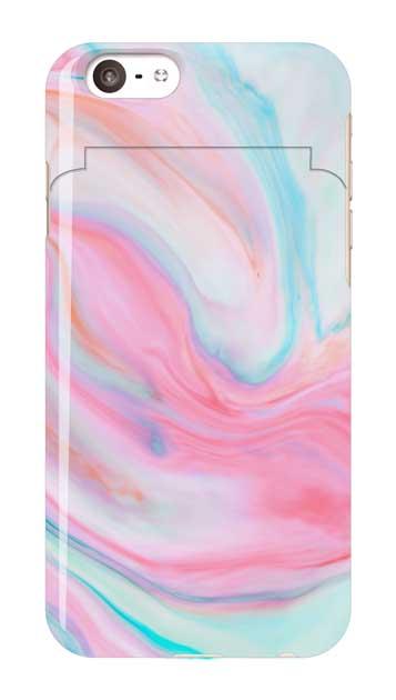 iPhone6sのミラー付きケース、カラフルスイートマーブル【スマホケース】