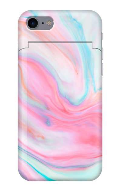 iPhone8のミラー付きケース、カラフルスイートマーブル【スマホケース】