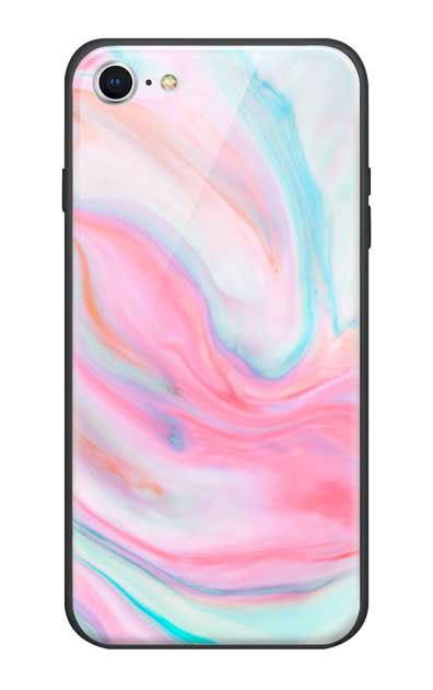 iPhone8のガラスケース、カラフルスイートマーブル【スマホケース】