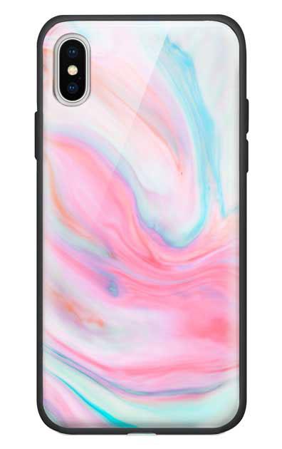 iPhoneXのガラスケース、カラフルスイートマーブル【スマホケース】
